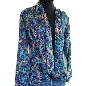 Peacock Feather Kimono Wrap LS Sheer Cardigan